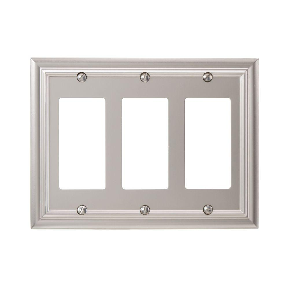 Amerelle Continental 3 Decora Wall Plate - Satin Nickel