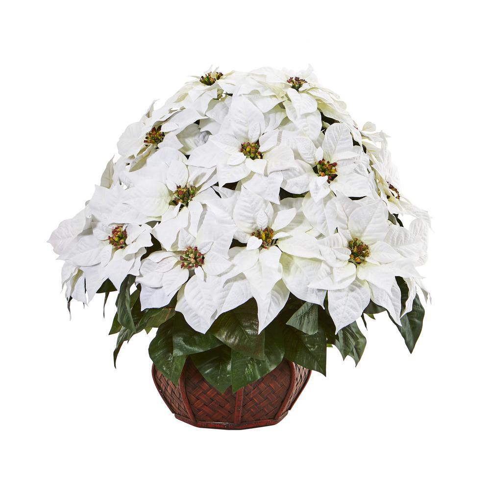 22 in. Poinsettia Artificial Arrangement in Decorative Planter
