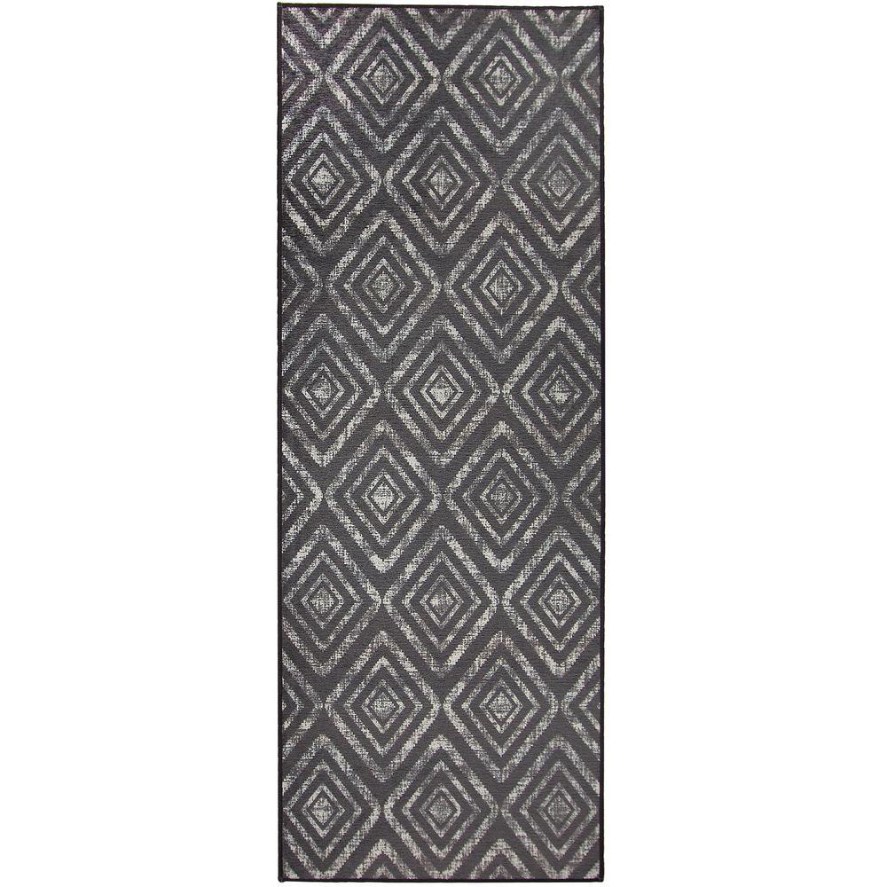 Washable Prism Dark Grey 2.5 ft. x 7 ft. Stain Resistant Runner Rug
