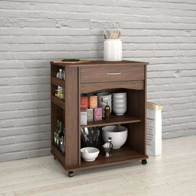 Walnut Kitchen Cart with Drawer