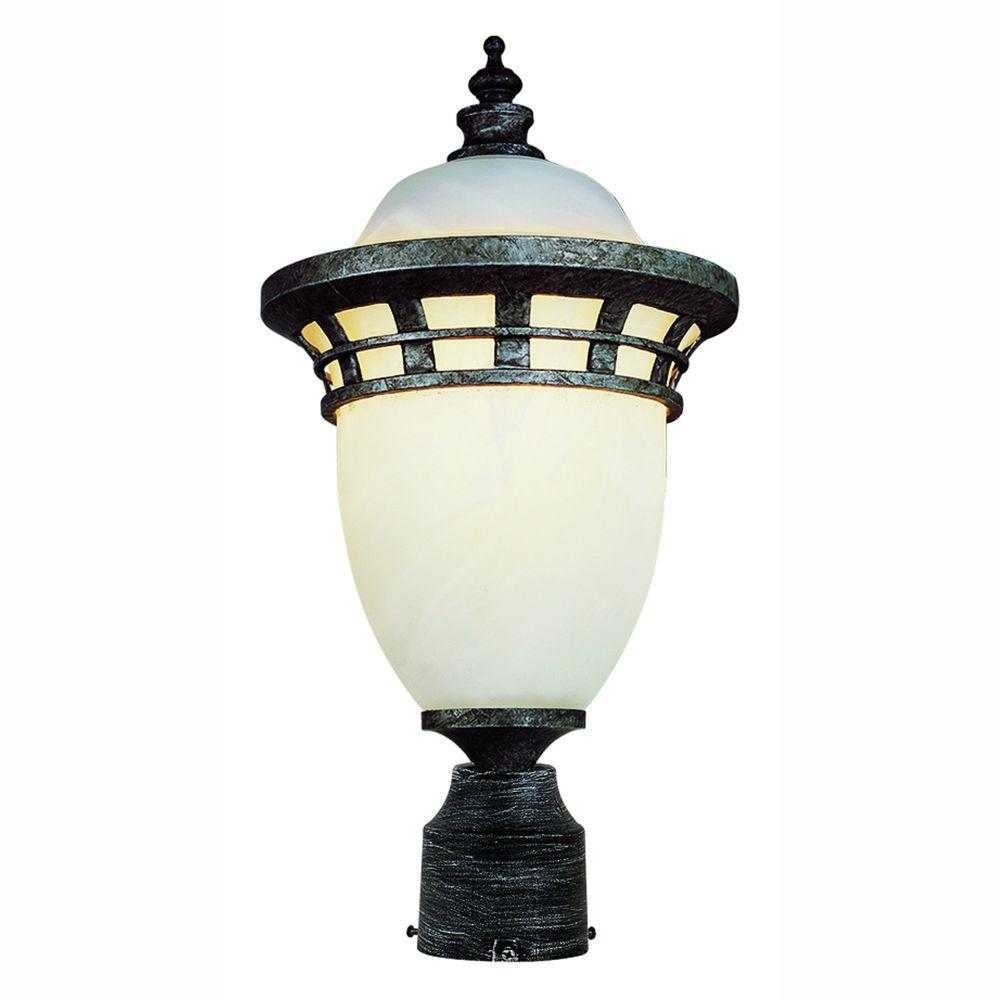 Bel Air Lighting Imperial 1 Light Outdoor Antique Pewter Post Top Lantern With Frosted Glass