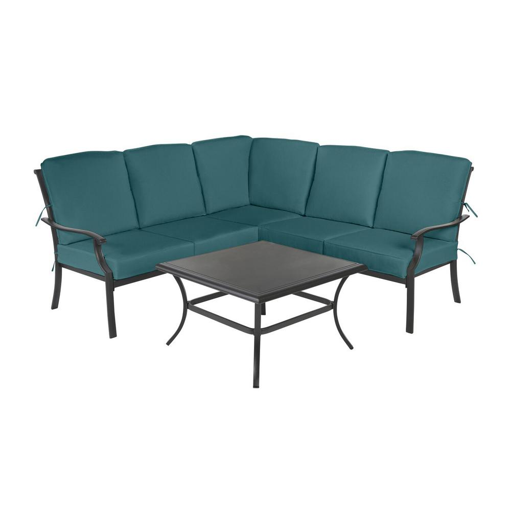 Redwood Valley Black 4-Piece Steel Outdoor Patio Sectional Sofa Set with CushionGuard Charleston Blue-Green Cushions