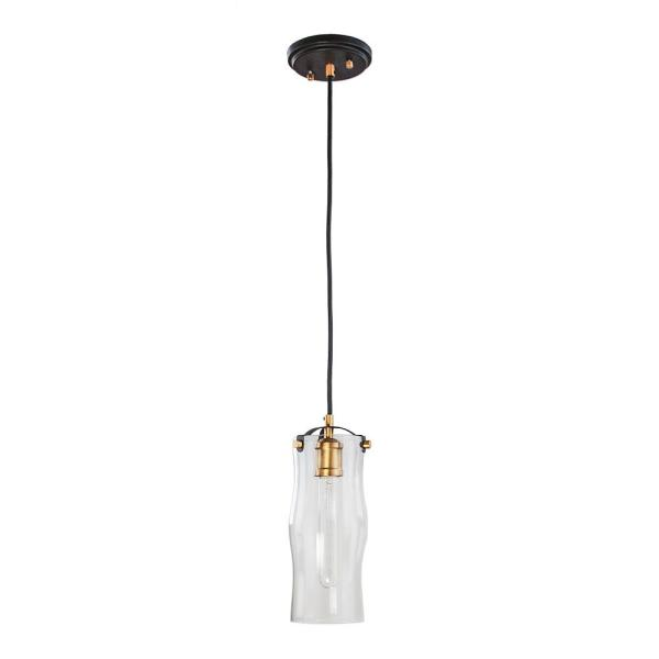 1-Light Bronze with Natural Brushed Brass Mini Pendant