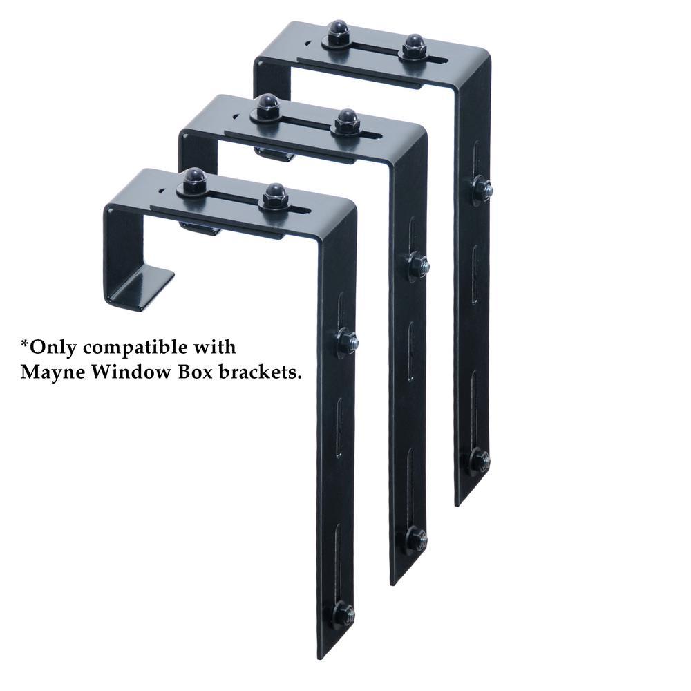 Mayne Window Box Deck Rail Steel Brackets 3 Pack 3833 The Home Depot