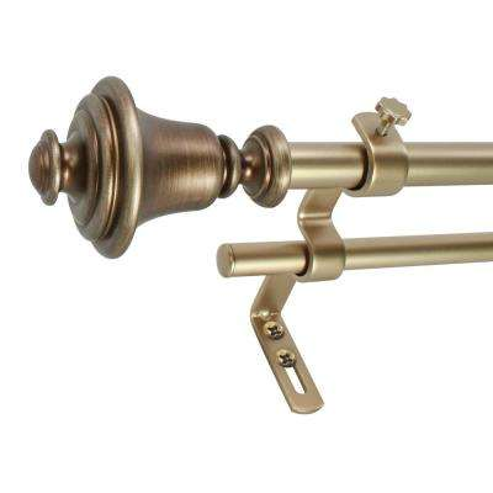 5/8 in. Bell Telescoping Drapery Double Rod Set 86 in. - 128 in., Vintage Brass