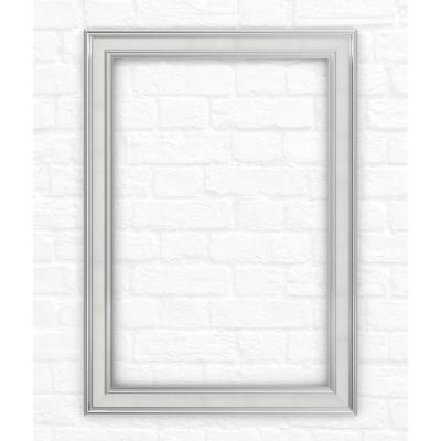 33 in. x 47 in. (L1) Rectangular Mirror Frame in Chrome and Linen