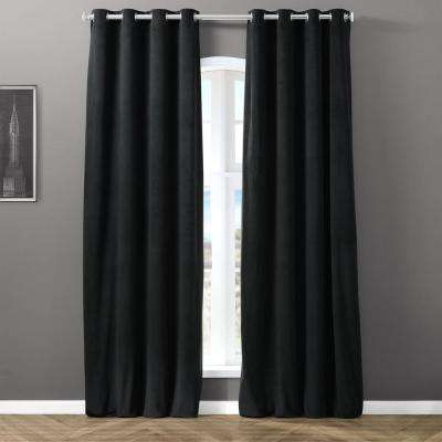 Blackout Signature Silver Grey Grommet Blackout Velvet Curtain - 50 in. W x 120 in. L (1 Panel)