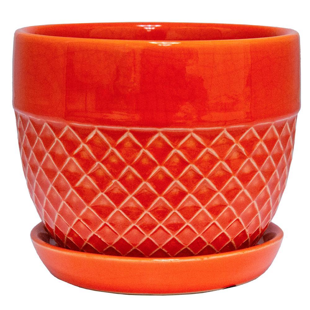 6 in. Dia Orange Acorn Bell Ceramic Planter