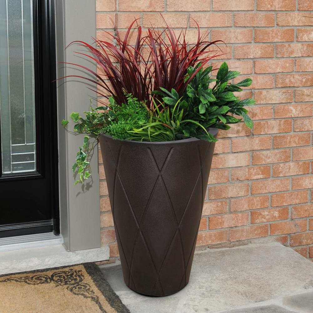 Mayne Versailles 26 in. Espresso Tall Round Planter-5891-ES - The Home Depot