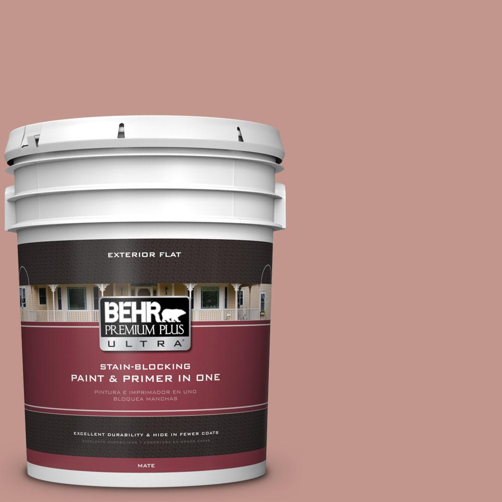 5 gal. #MQ1-18 Pressed Blossoms Flat Exterior Paint and Primer in