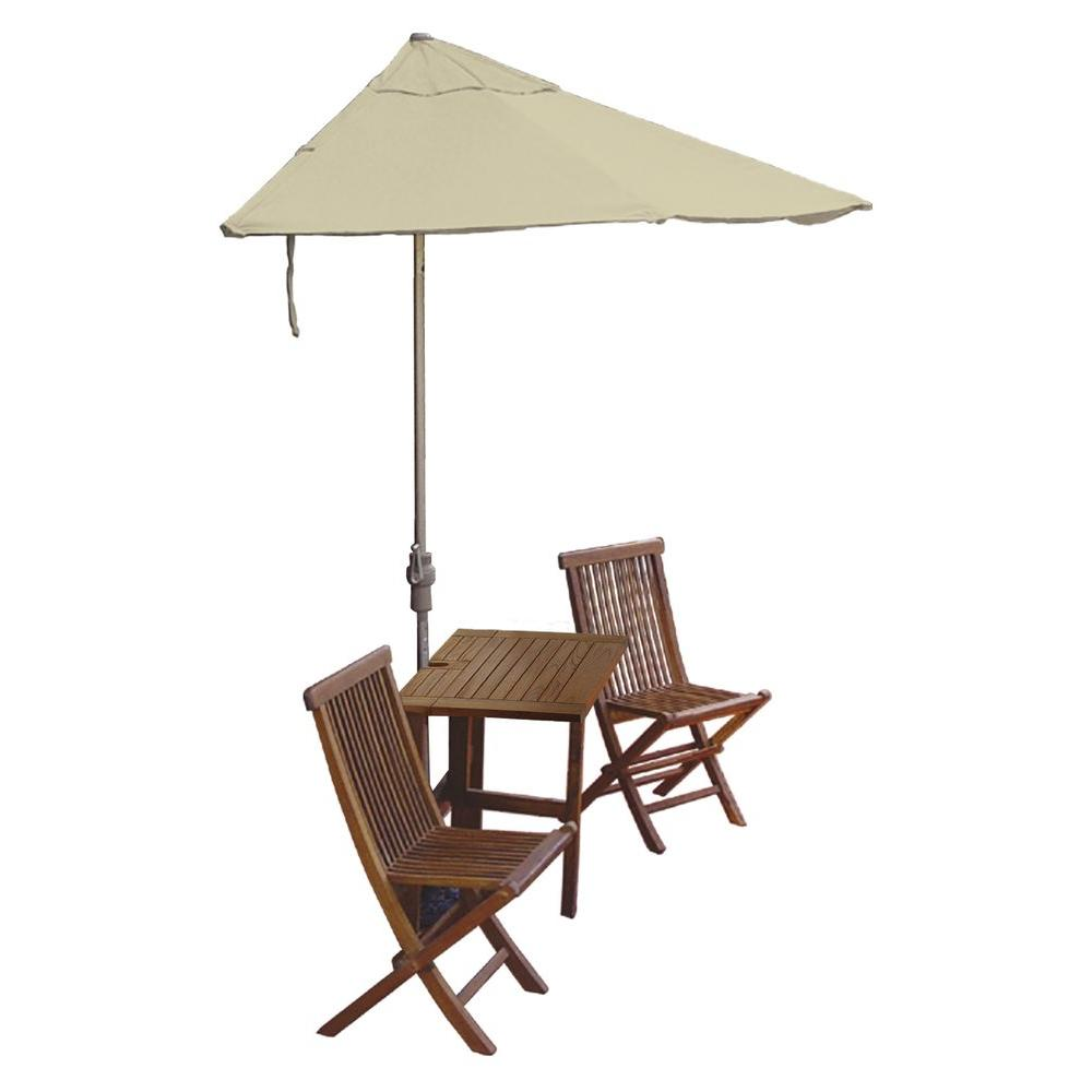 Blue Star Group Terrace Mates Villa Deluxe 5-Piece Patio Bistro Set with 7.5 ft. Antique Beige Sunbrella Half-Umbrella