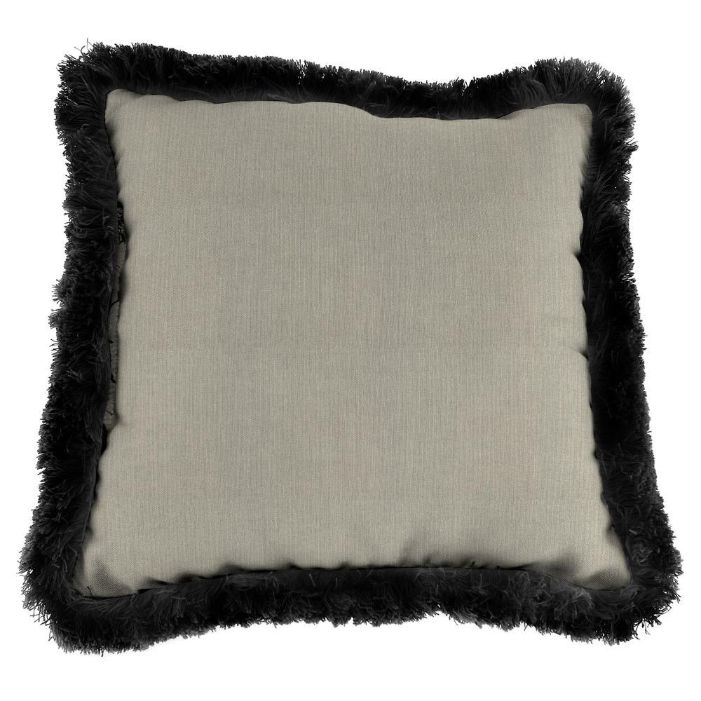 Jordan Manufacturing Sunbrella Spectrum Dove Square Outdoor Throw Pillow with Black Fringe
