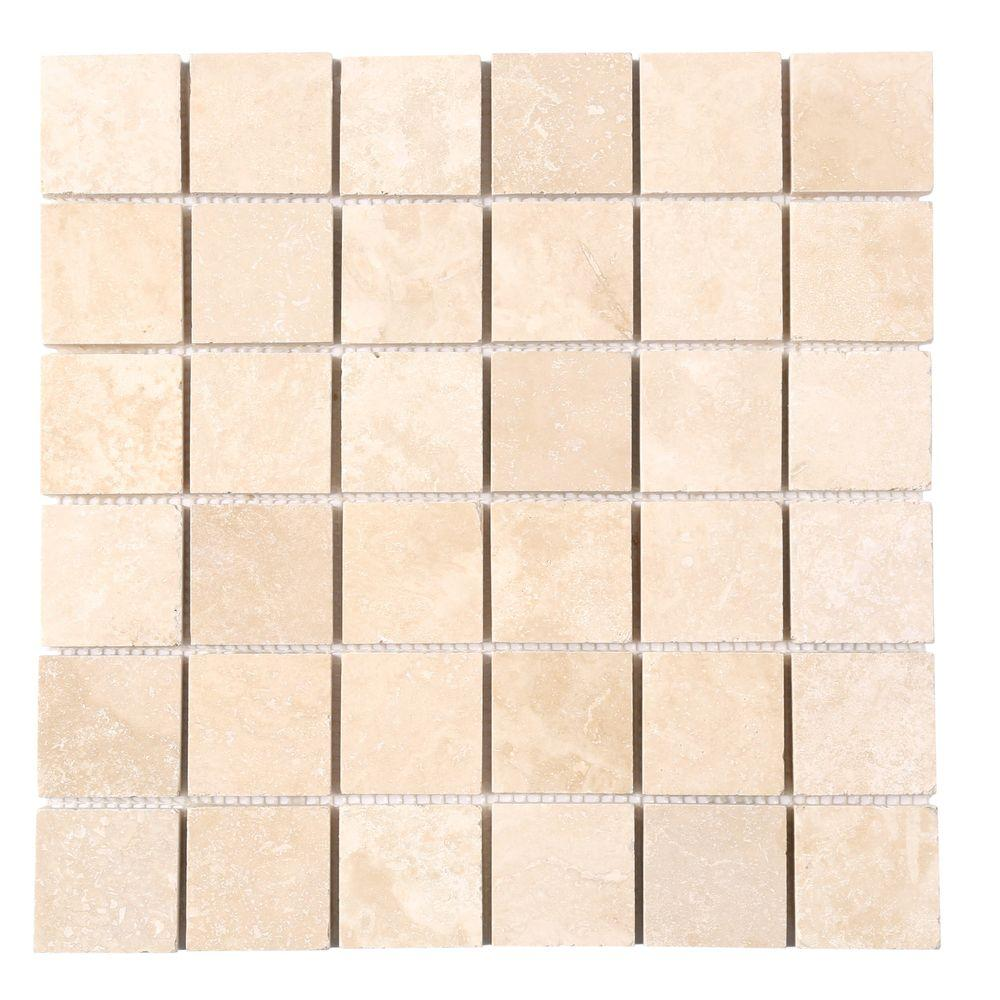 MS International Ivory 12 in. x 12 in. x 10 mm Honed Travertine Mesh-Mounted Mosaic Tile