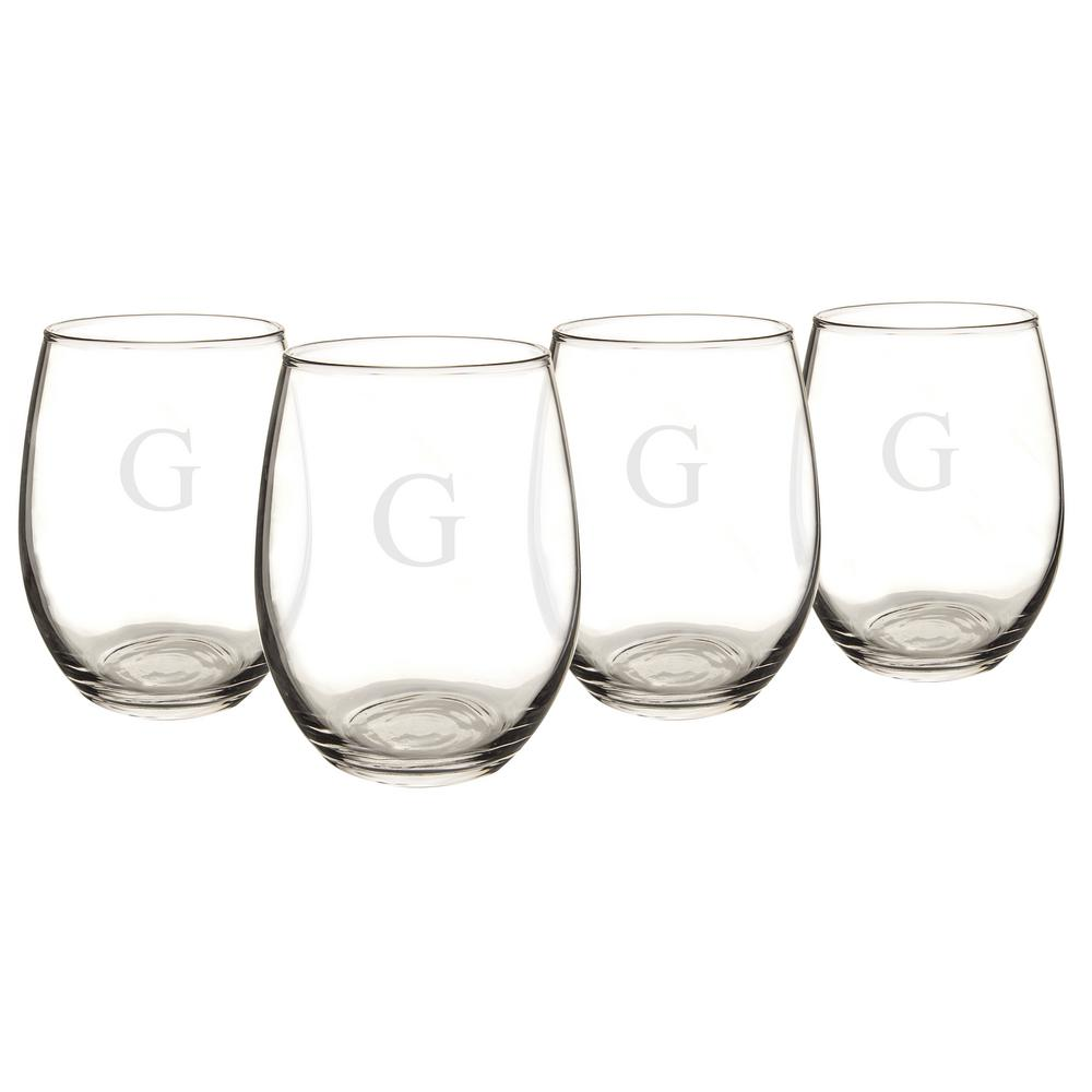 Personalized Stemless Wine Glasses - G