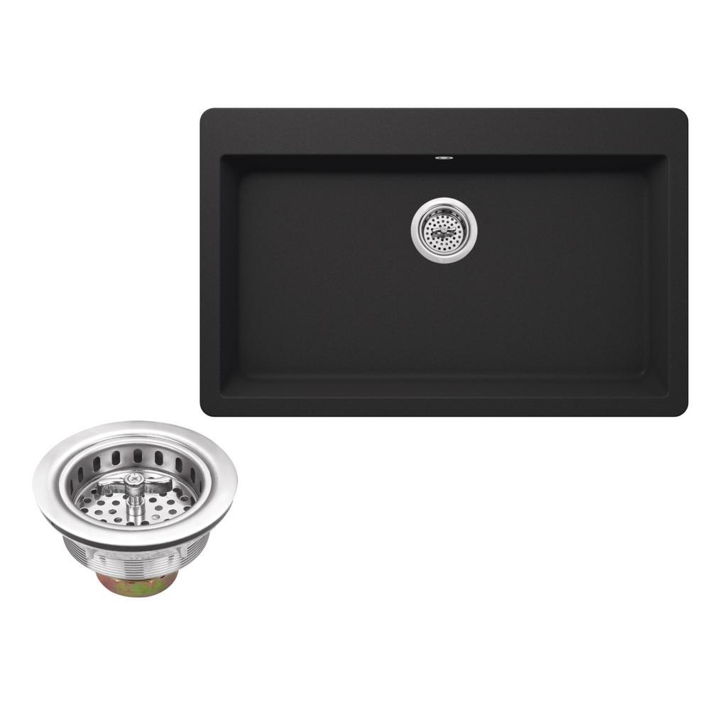 Drop-In Granite Composite 33 in. 3-Hole Single Bowl Kitchen Sink in Black Onyx
