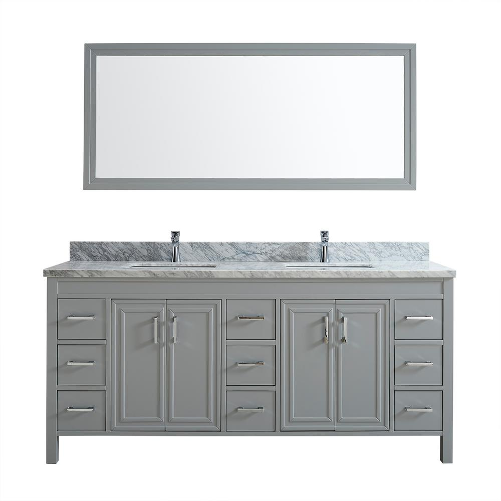 Studio Bathe Dawlish 75 in. W x 22 in. D Vanity in Oxford Gray with Marble Vanity Top in Gray with White Basin and Mirror