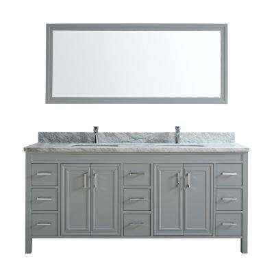 Dawlish 75 in. W x 22 in. D Vanity in Oxford Gray with Marble Vanity Top in Gray with White Basin and Mirror