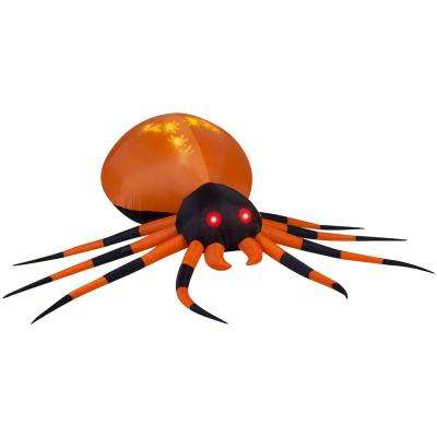 8.00 ft. W Pre-Lit Inflatable Projection Whirl-a-Motion-Black/Orange Spider (White) Airblown