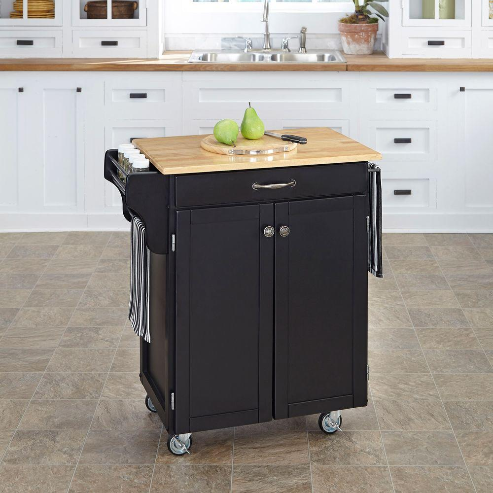 Home Styles Create-a-Cart Black Kitchen Cart With Natural...