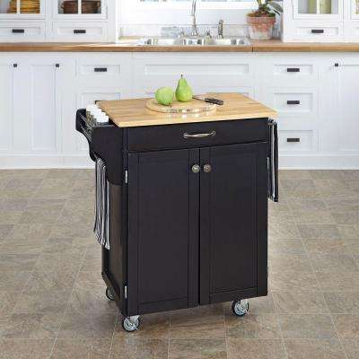 Create-a-Cart Black Kitchen Cart With Natural Wood Top