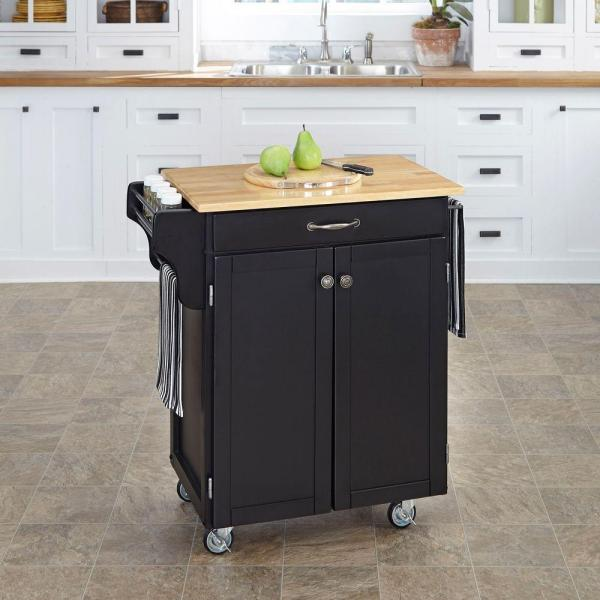 Home Styles Create-a-Cart Black Kitchen Cart With Natural Wood Top 9001-0041