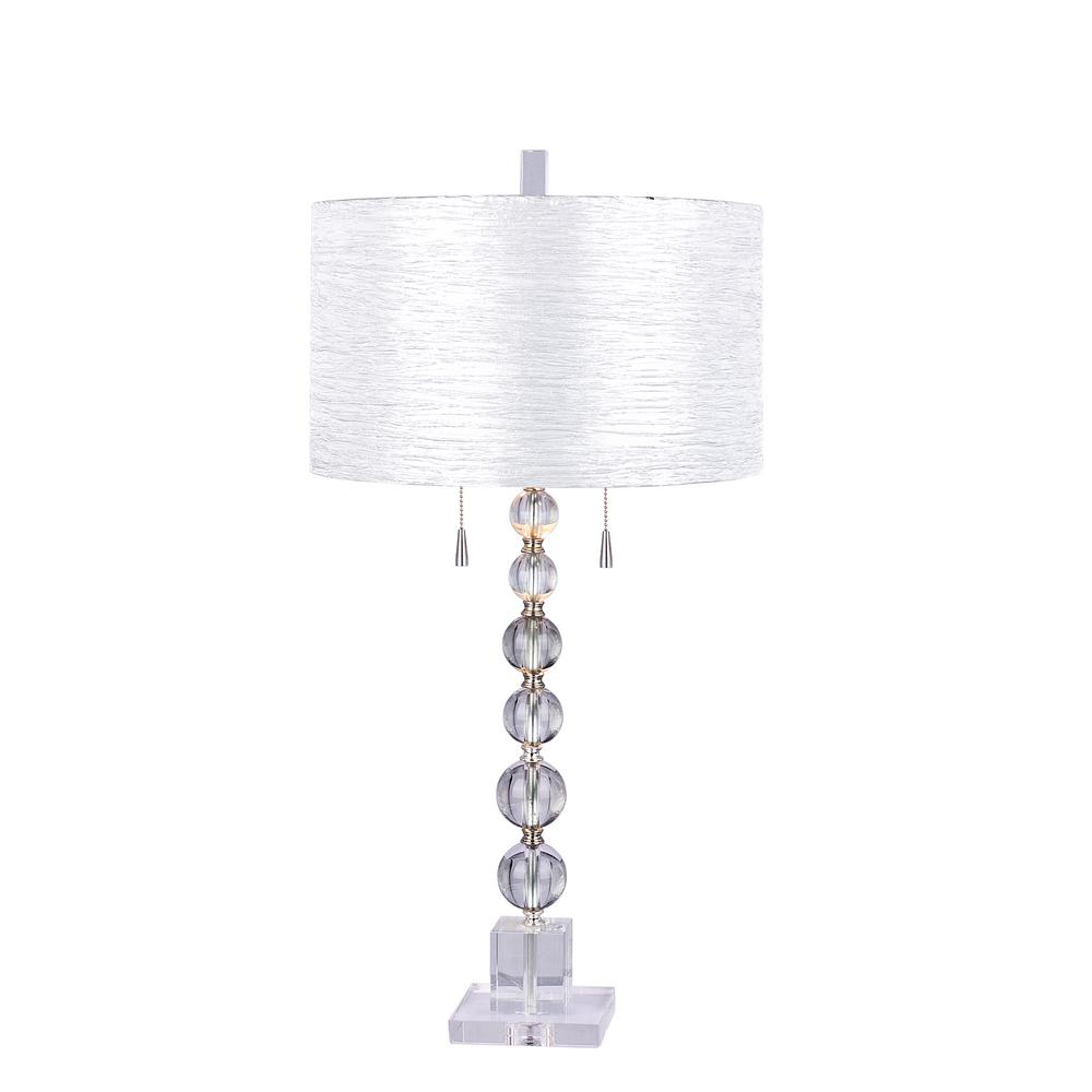 Charmant Fangio Lighting Clear Stacked Crystal Ball 34 In. Table Lamp With Brushed  Steel Metal Accents