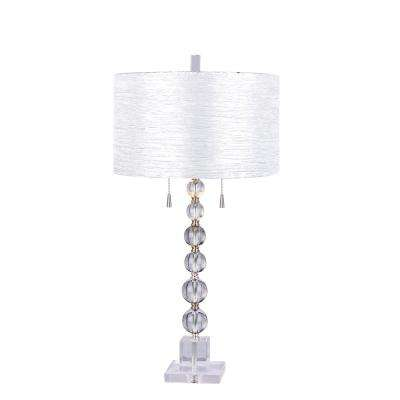 Clear Stacked Crystal Ball 34 In. Table Lamp With Brushed Steel Metal  Accents