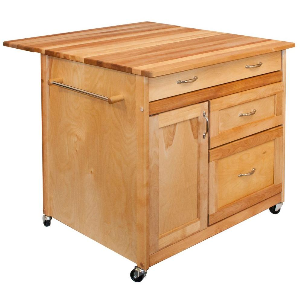 Catskill Craftsmen 38 In Wide Butcher Block Kitchen Island With Deep Drawers