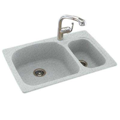 Drop-In/Undermount Solid Surface 33 in. 1-Hole 70/30 Double Bowl Kitchen Sink in Tahiti Gray