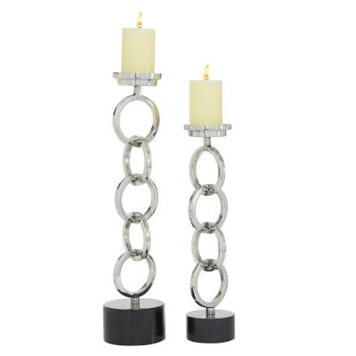 2-Piece Silver Chain Candle Holders Centerpieces for Tables