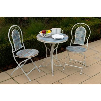 Multi-Color 3-Piece Rustic Wood and Metal Outdoor Bistro Set