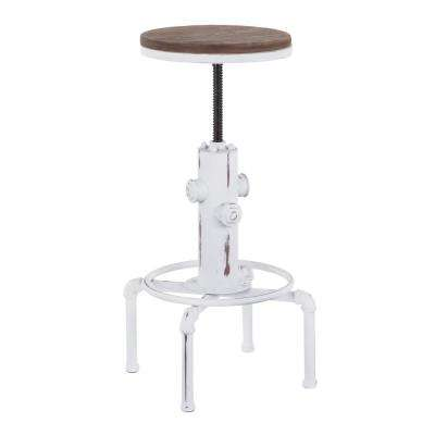 Hydra Adjustable Industrial Vintage White and Brown Bar Stool