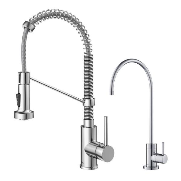 Kraus Bolden Commercial 1 Handle Pull Down Kitchen Faucet And Purita Water Filtration Faucet In Chrome Kpf 1610 Ff 100ch The Home Depot