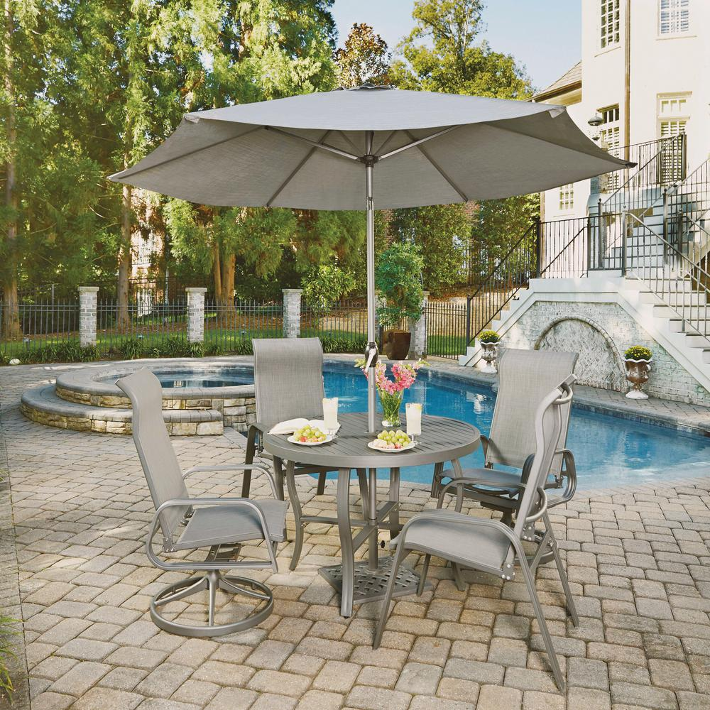 Daytona Charcoal Gray 7-Piece Aluminum Round Outdoor Dining Set