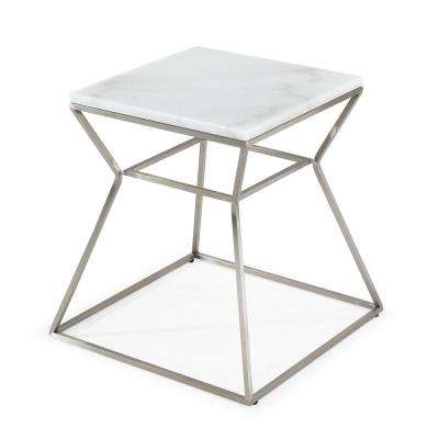 Zamora Silver/White Marble Side Table