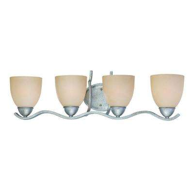 Triton 4-Light MoonLight Silver Bath Fixture with Tea Stained Glass Shade