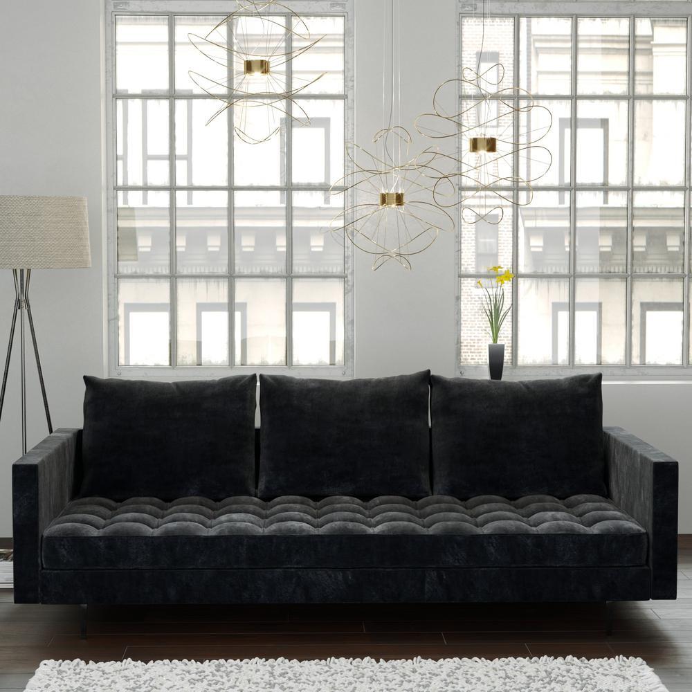 Admirable Manhattan Comfort Granville 3 Seat Grey Velvet Sofa 113 Short Links Chair Design For Home Short Linksinfo