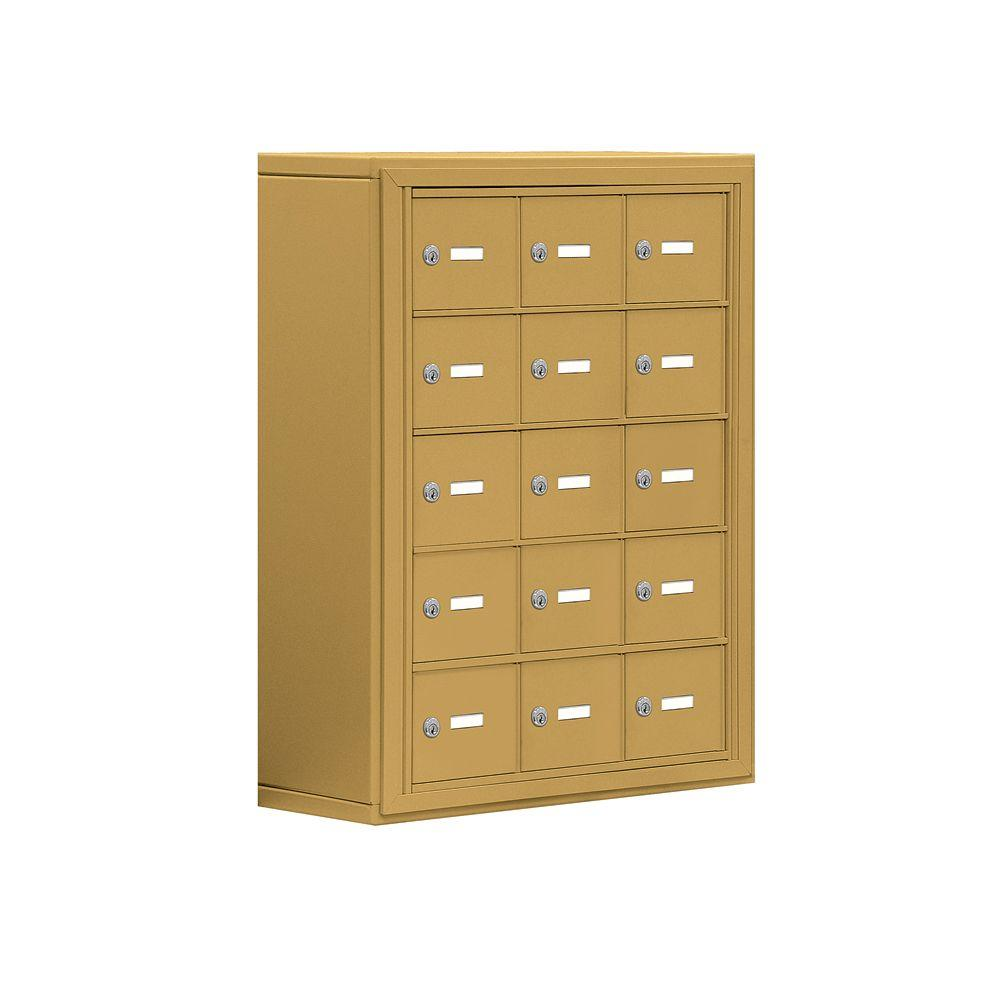 Salsbury Industries 19000 Series 24 in. W x 31 in. H x 9.25 in. D 15 A Doors S-Mount Keyed Locks Cell Phone Locker in Gold