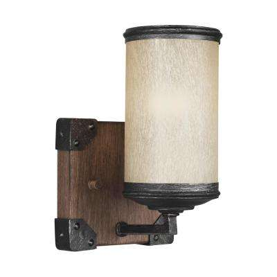 Dunning 5 in. W. 1-Light Weathered Gray and Distressed Oak Wall Sconce with LED Bulb