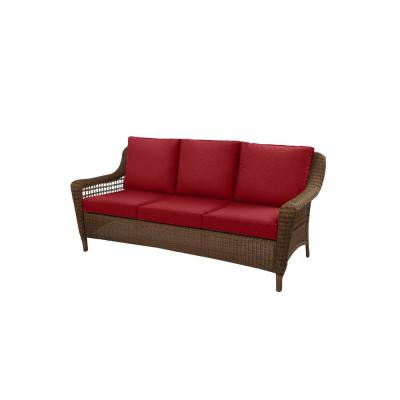 Spring Haven Brown Wicker Outdoor Patio Sofa with Standard Chili Red Cushions