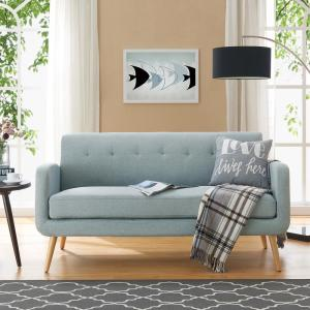 Sensational Handy Living Kingston Light Blue Linen Mid Century Modern Andrewgaddart Wooden Chair Designs For Living Room Andrewgaddartcom