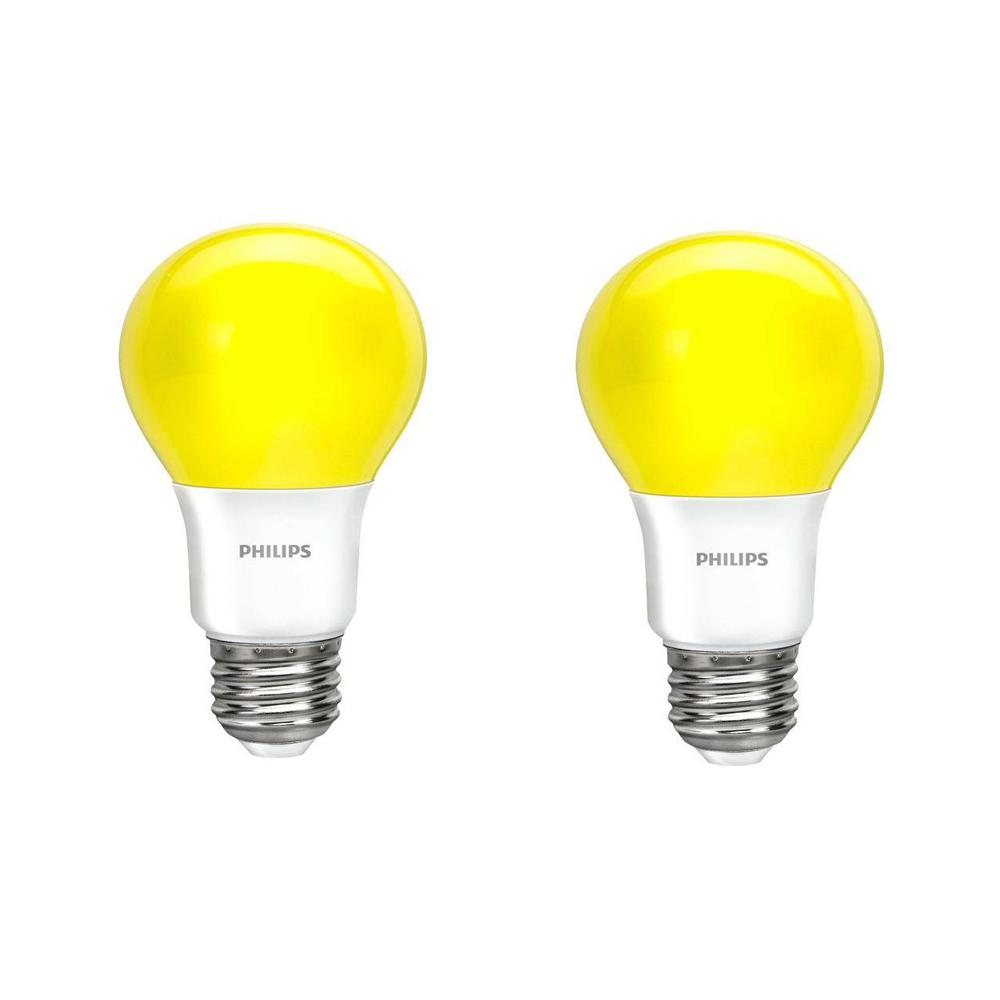 Philips 60 Watt Equivalent A19 Non Dimmable Yellow Led Bug Light Bulb 2 Pack 463190 The Home