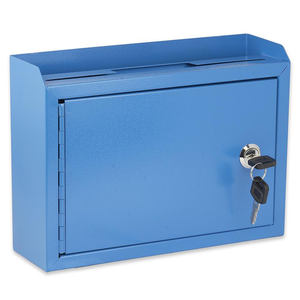 Medium Size Blue Steel Multi-Purpose Suggestion Drop Box