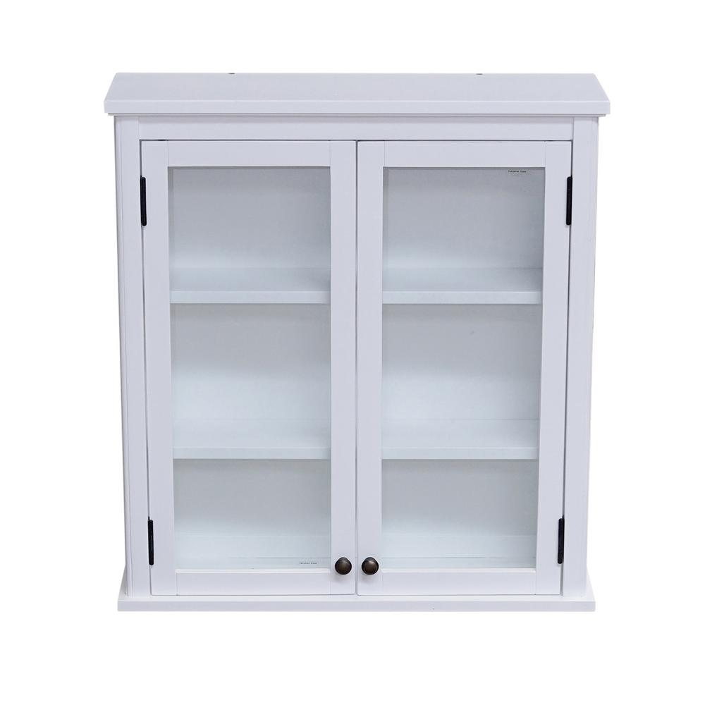 Alaterre Furniture Dorset 27 In W Wall Mounted Bath Storage Cabinet With Gl Doors White