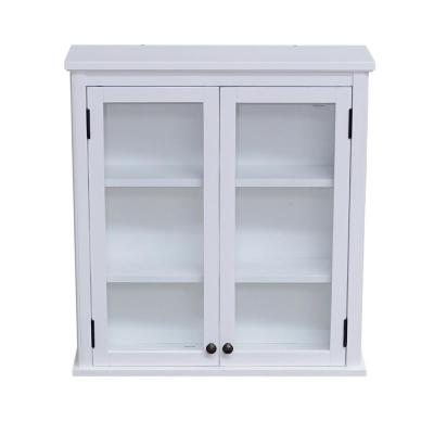 Dorset 27 in. W Wall Mounted Bath Storage Cabinet with Glass Cabinet Doors in White