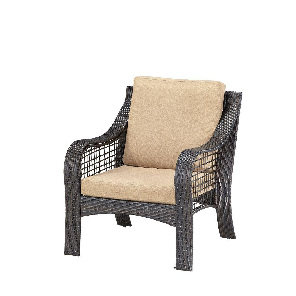 Home styles lanai breeze deep brown woven patio accent chair with cushion