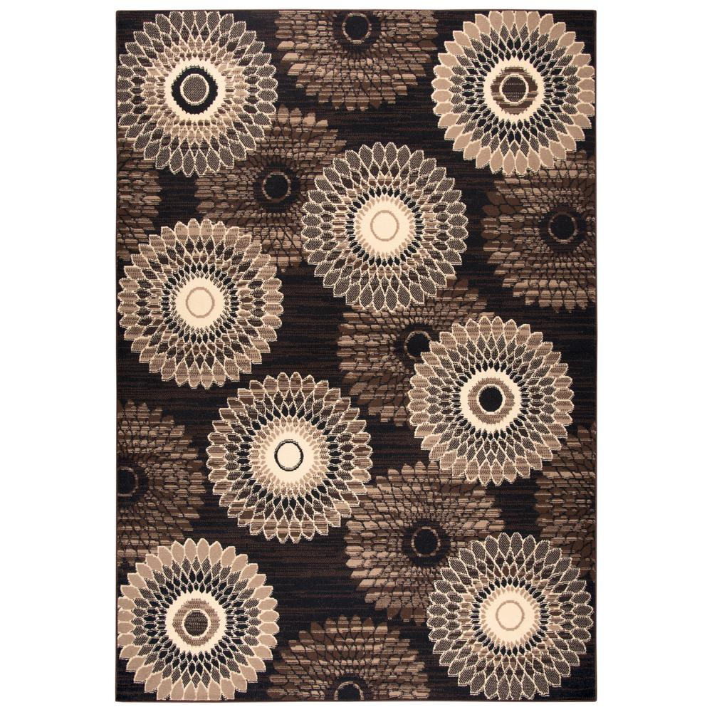 Xcite Brown Geometric Machine Made 8 ft. x 10 ft. Area Rug