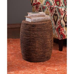 Camotes Seagrass Brown and Natural Stool Ottoman by