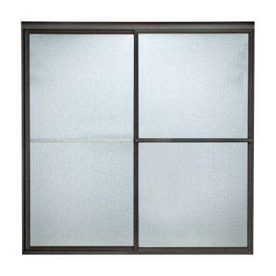 Prestige 42 in. x 71.5 in. Framed Sliding Shower Door in Oil Rubbed Bronze with Rain Glass