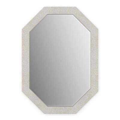 33 in. x 46 in. (L3) Octagonal Framed Mirror with Deluxe Glass and Flush Mount Hardware in Stone Mosaic